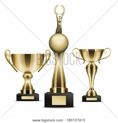 Set of three golden trophy cups winner graphic art icon. Vector illustration of realistic trophies isolated on white. Gold rewards on black base with nameplate. Drawn figure cartoon style flat design.