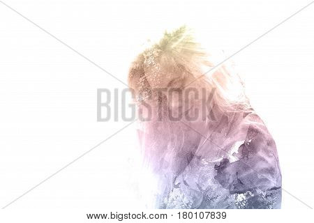 Double exposure of a young beautiful girl. Painted portrait of a female face. Multi-colored picture isolated on white background. Female sad look. Abstract woman face. Watercolor illustration.