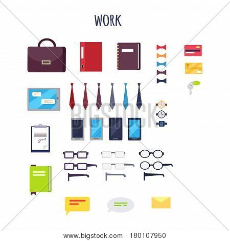 Work equipment vector illustration. Leather briefcase, colorful notebooks, modern devices, set of ties and bowties, arm watches, elegant spectacles, payment cards, office keys and chat icons.
