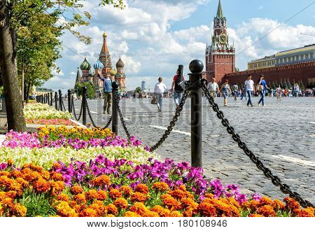 MOSCOW - JULY 10, 2015: Flower Festival near GUM (main department store) on the Red Square. GUM - one of the oldest supermarkets in Moscow.