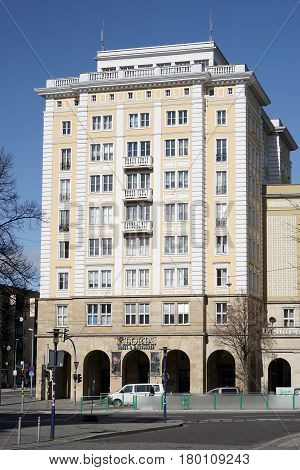 MAGDEBURG, GERMANY - MARCH 18, 2017: Building in the style of socialist classicism in the inner city of Magdeburg. The architectural style is also called gingerbread style