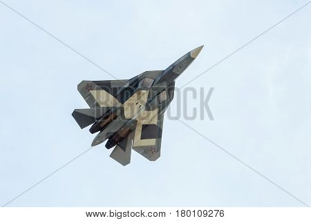 MOSCOW REGION - AUGUST 28, 2015: New Russian fifth-generation fighter T-50 (Sukhoi PAK FA) at the International Aviation and Space Salon (MAKS) in Zhukovsky.