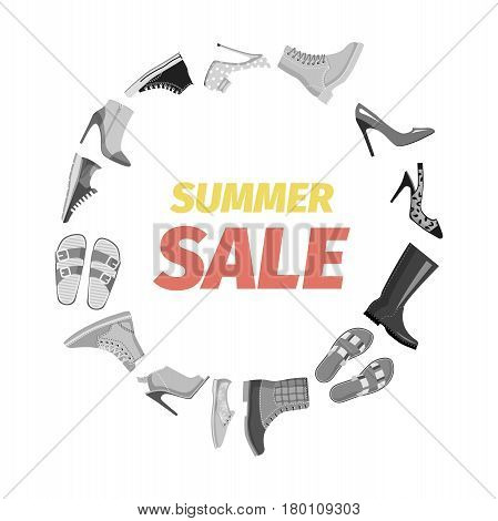 Summer sale advertisement banner vector. Footgear for hot summer, warm spring, rainy autumn and cold winter. Discount for elegant stilettos, running sneakers, casual flip-flops and warm boots.