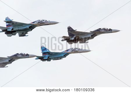 MOSCOW REGION - AUGUST 28, 2015: Aerobatic display team