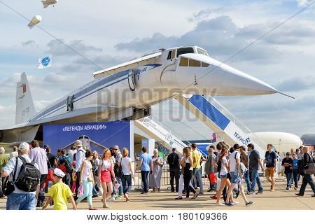 MOSCOW REGION - AUGUST 28, 2015: The Tupolev Tu-144 soviet supersonic airliner at the International Aviation and Space Salon (MAKS).