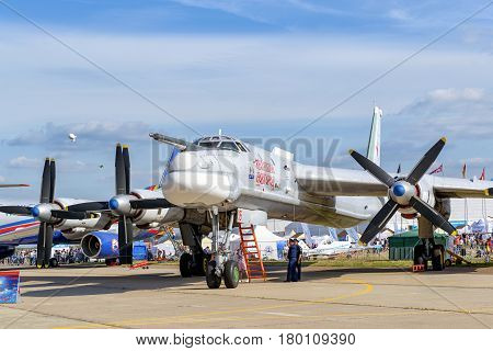 MOSCOW REGION - AUGUST 28, 2015: Russian strategic bomber Tupolev Tu-95MS