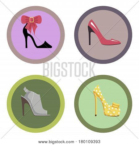 Stylish high-heeled shoes collection. Modern shoe with big bow, pink stilettos, bright pump shoe and stylish mules isolated on white background. Fashionable feminine footgear vector illustration.