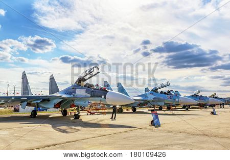 MOSCOW REGION - AUGUST 28, 2015: Russian strike fighters Sukhoi su-30 and su-34 at the International Aviation and Space Salon (MAKS) in Zhukovsky.