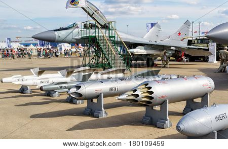 MOSCOW REGION - AUGUST 28, 2015: Bombs and missiles for the MiG fighter at the International Aviation and Space Salon (MAKS) in Zhukovsky.