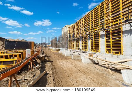 MOSCOW - APRIL 10: Construction site on april 10, 2014 in Moscow, Russia. Urban construction is at a faster pace in Russia.