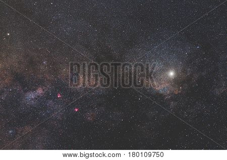 Milky way stars photographed through a wide angle lens.