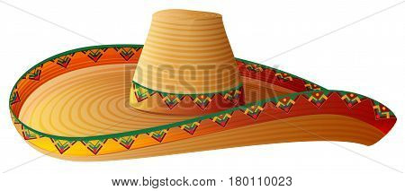 Sombrero Mexican Straw Hat with wide margins. Isolated on white vector illustration