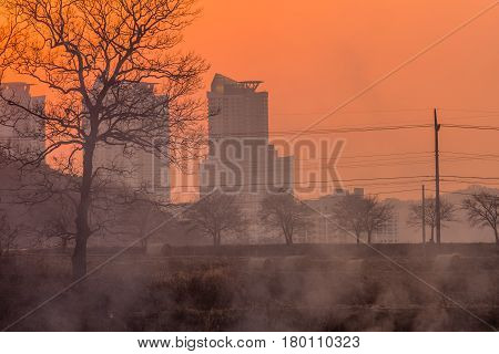 Smoke in the air at sunset obscures the view of apartments and trees and creates a halloween like orange glow in the sky