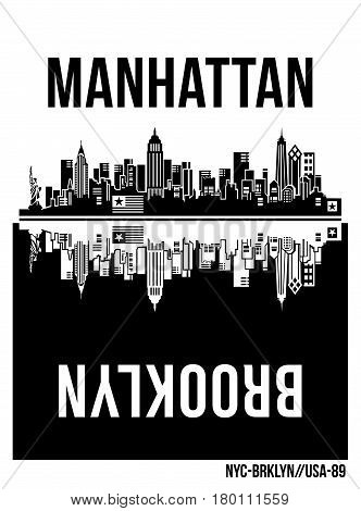 retro manhattan brooklyn building For Poster, T Shirt,  Vector.