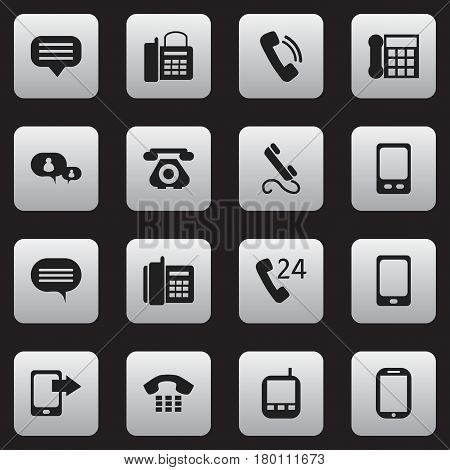 Set Of 16 Editable Phone Icons. Includes Symbols Such As Phone, Transceiver, Office Telephone And More. Can Be Used For Web, Mobile, UI And Infographic Design.