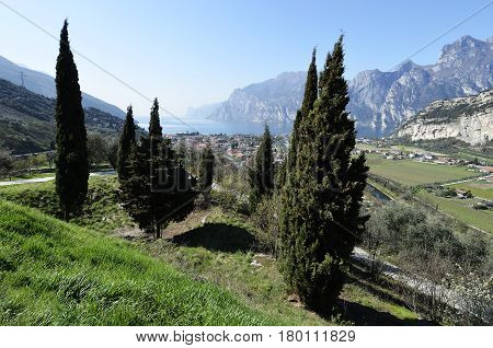 Panoramic view of Torbole and Lake Garda in spring