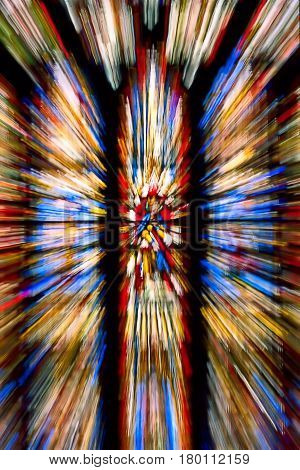 Stained glass windows zoomed in during exposure