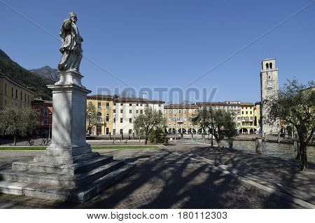 Riva del Garda Italy - March 28 2017: Square Chain and lll November Square in sunny day in early spring