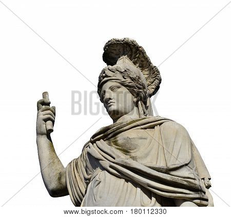 Minerva as Goddess Roma neoclassical old marble statue in People's Square in Rome (isolated on white background)