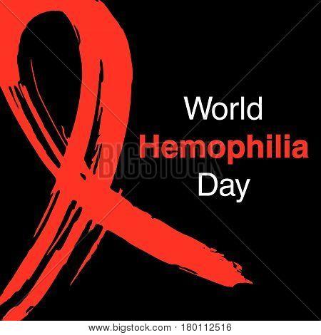 Hand Drawn Ribbon To World Hemophilia Day.