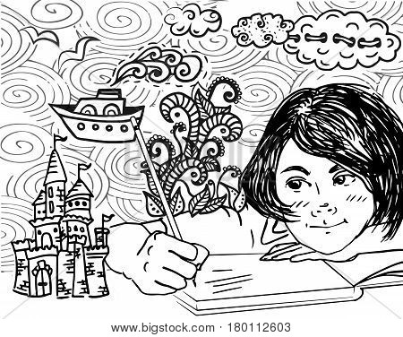 illustration of kid writing and drawing. Funny cartoon. black and white