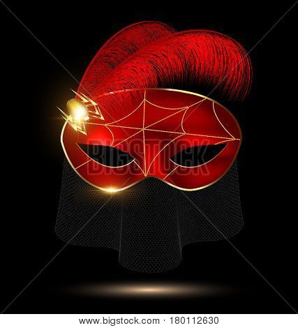 dark background, red-golden carnival half mask with jewel pin, veil and feathers