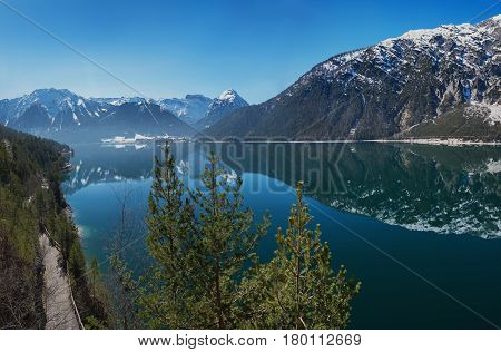 Breathtaking View To Achensee And Karwendel Mountains In March