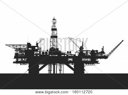 Sea oil rig. Oil drilling platform silhouette. Detail vector illustration.