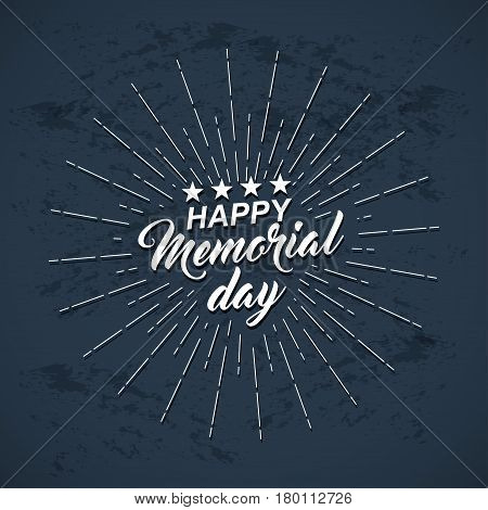 Memorial Day background with white stars lettering and rays of burst. Template of greeting card for Memorial Day. Vector illustration.