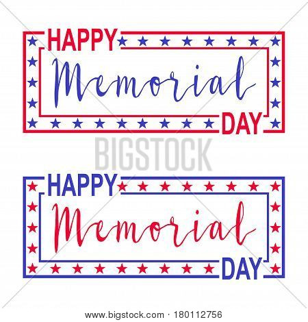 Two banner for Memorial Day. Decorations with stars lettering and frame for USA Memorial Day. Isolated on white. Vector illustration.