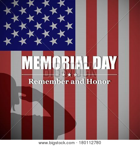 Memorial Day background with soldier's silhouette and USA national flag. Design for US Memorial Day. Vector illustration.
