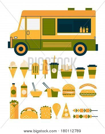 Set of flat Icons to the food theme: food truck, ice cream, soda glass, chinese food, burger, sandwich, hot dog, pizza, kebab. Vector illustration.