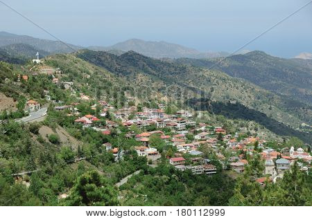 The idyllic village in Troodos mountains. Cyprus