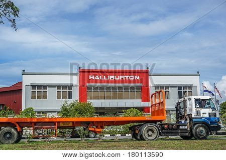 Labuan,Malaysia-Apr 5,2017:Halliburton international oil and gas company office in Labuan,Malaysia on 5th April 2017.Halliburton is one of the world's largest providers of products and services to the energy industry.