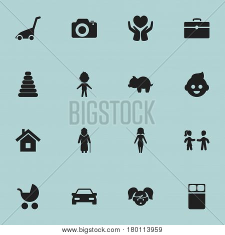 Set Of 16 Editable Relatives Icons. Includes Symbols Such As Boy, Tower, Grass Cutting Machine And More. Can Be Used For Web, Mobile, UI And Infographic Design.