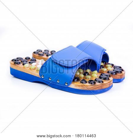 Blue Massage Slippers On A White Background