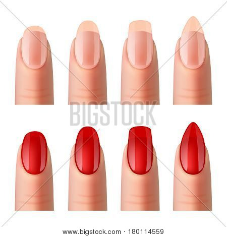 Women nails shapes best sheer foundation and red varnish manicure 2 realistic banners set isolated vector illustration