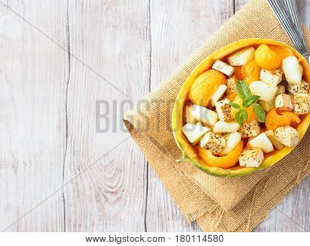 Vegan Salad With Melon And Tofu Cheese