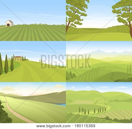 Set of farm fields landscapes. Rural horizontal views. Agriculture in village illustrations for banners and packaging. Harvest natural countryside.