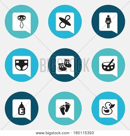 Set Of 9 Editable Baby Icons. Includes Symbols Such As Soothers, Footmark, Nursing Bottle And More. Can Be Used For Web, Mobile, UI And Infographic Design.
