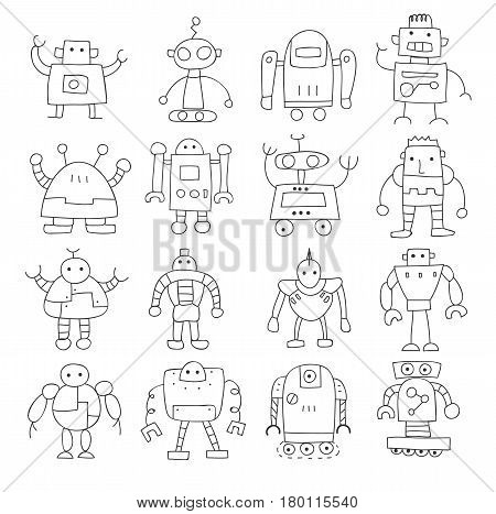 Icon Thin Line Robot Cute Doodle Hand Drawn Vector Set Art Illustration