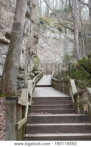 Trail through Giant City State Park in Illinois