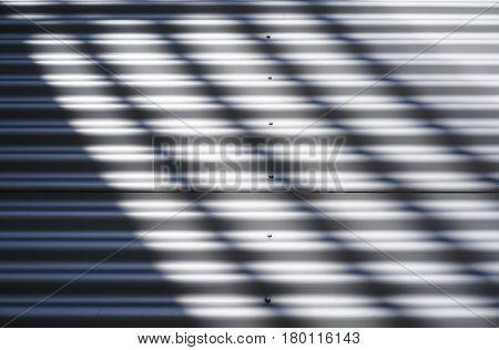 corrugated sheet metal made of aluminium on a facade