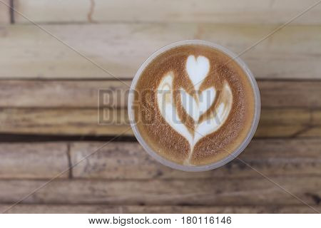 flower shaped pattern of coffee latte art valentine's day for background