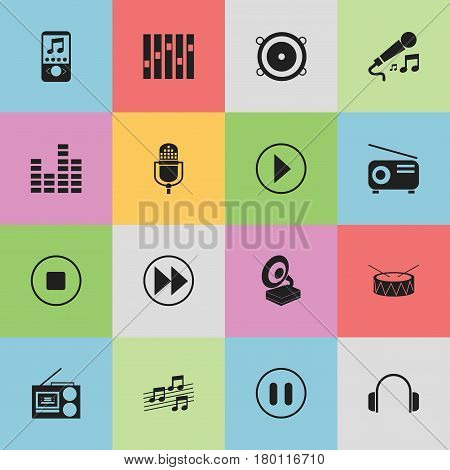 Set Of 16 Editable Song Icons. Includes Symbols Such As Microphone, Rewind, Music Phone And More. Can Be Used For Web, Mobile, UI And Infographic Design.