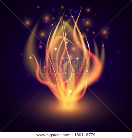 Fire flame on dark background. Bonfire in the night forest. Bright marching fire with sparks. Summer campfire. Vector illustration