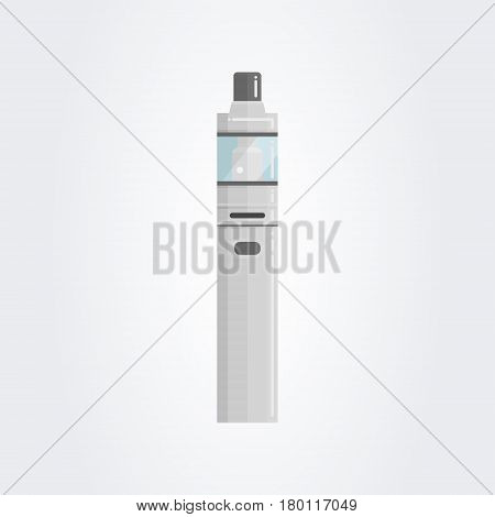 Colored flat vaping device. Part of big set. Steel starter kit on white gradient background. EPS10