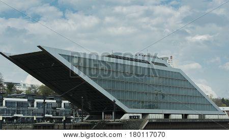 Hamburg, Germany - April 02, 2017: The dockland office building on the Elbe of Hamburg, April 02, 2017 in Hamburg