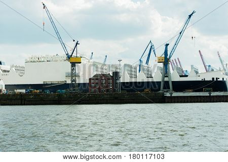 Germany - Schleswig Holstein - May 10, 2014: A big yacht repair in dry dock.
