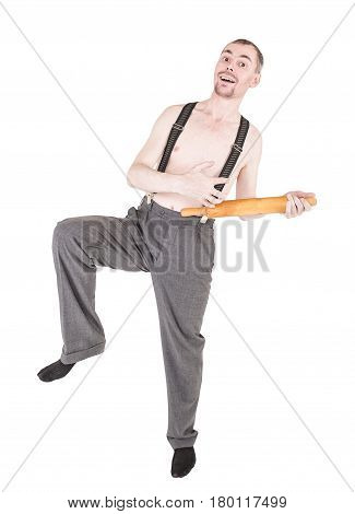 Funny Nerd Man Having Fun With Rolling Pin Isolated